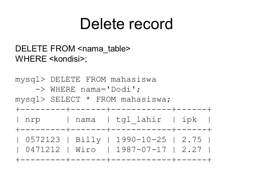 Delete record DELETE FROM WHERE ; mysql> DELETE FROM mahasiswa -> WHERE nama= Dodi ; mysql> SELECT * FROM mahasiswa; | nrp | nama | tgl_lahir | ipk | | | Billy | | 2.75 | | | Wiro | | 2.27 |