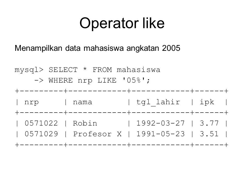 Operator like Menampilkan data mahasiswa angkatan 2005 mysql> SELECT * FROM mahasiswa -> WHERE nrp LIKE 05% ; +---------+------------+------------+------+ | nrp | nama | tgl_lahir | ipk | +---------+------------+------------+------+ | 0571022 | Robin | 1992-03-27 | 3.77 | | 0571029 | Profesor X | 1991-05-23 | 3.51 | +---------+------------+------------+------+