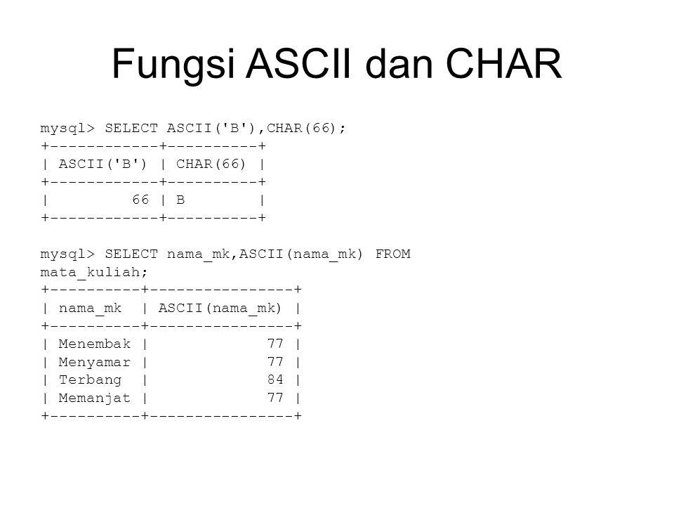 Fungsi ASCII dan CHAR mysql> SELECT ASCII( B ),CHAR(66); +------------+----------+ | ASCII( B ) | CHAR(66) | +------------+----------+ | 66 | B | +------------+----------+ mysql> SELECT nama_mk,ASCII(nama_mk) FROM mata_kuliah; +----------+----------------+ | nama_mk | ASCII(nama_mk) | +----------+----------------+ | Menembak | 77 | | Menyamar | 77 | | Terbang | 84 | | Memanjat | 77 | +----------+----------------+