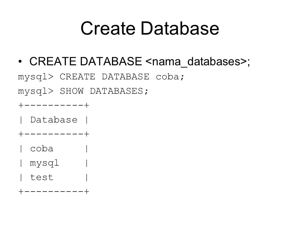 Create Database CREATE DATABASE ; mysql> CREATE DATABASE coba; mysql> SHOW DATABASES; +----------+ | Database | +----------+ | coba | | mysql | | test | +----------+