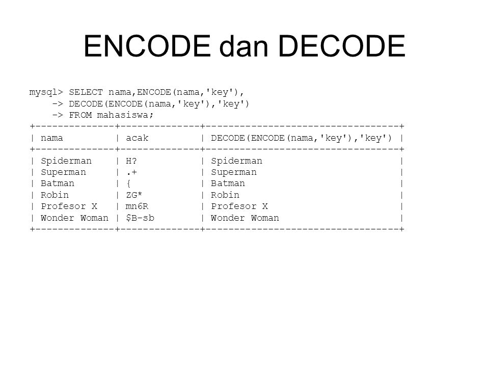 ENCODE dan DECODE mysql> SELECT nama,ENCODE(nama, key ), -> DECODE(ENCODE(nama, key ), key ) -> FROM mahasiswa; | nama | acak | DECODE(ENCODE(nama, key ), key ) | | Spiderman | H.