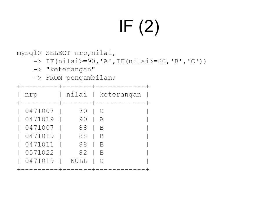 IF (2) mysql> SELECT nrp,nilai, -> IF(nilai>=90, A ,IF(nilai>=80, B , C )) -> keterangan -> FROM pengambilan; +---------+-------+------------+ | nrp | nilai | keterangan | +---------+-------+------------+ | 0471007 | 70 | C | | 0471019 | 90 | A | | 0471007 | 88 | B | | 0471019 | 88 | B | | 0471011 | 88 | B | | 0571022 | 82 | B | | 0471019 | NULL | C | +---------+-------+------------+