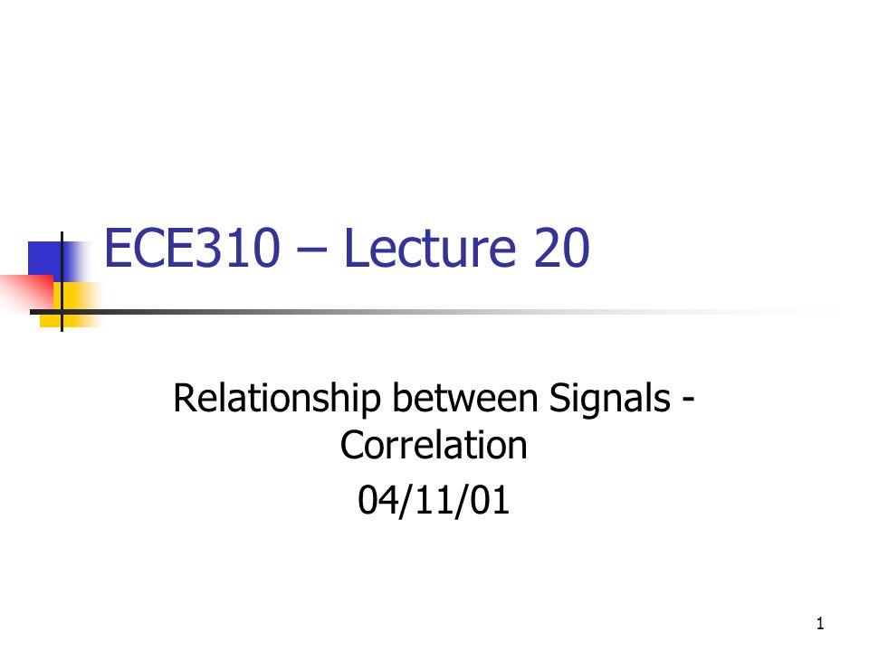 1 ECE310 – Lecture 20 Relationship between Signals - Correlation 04/11/01