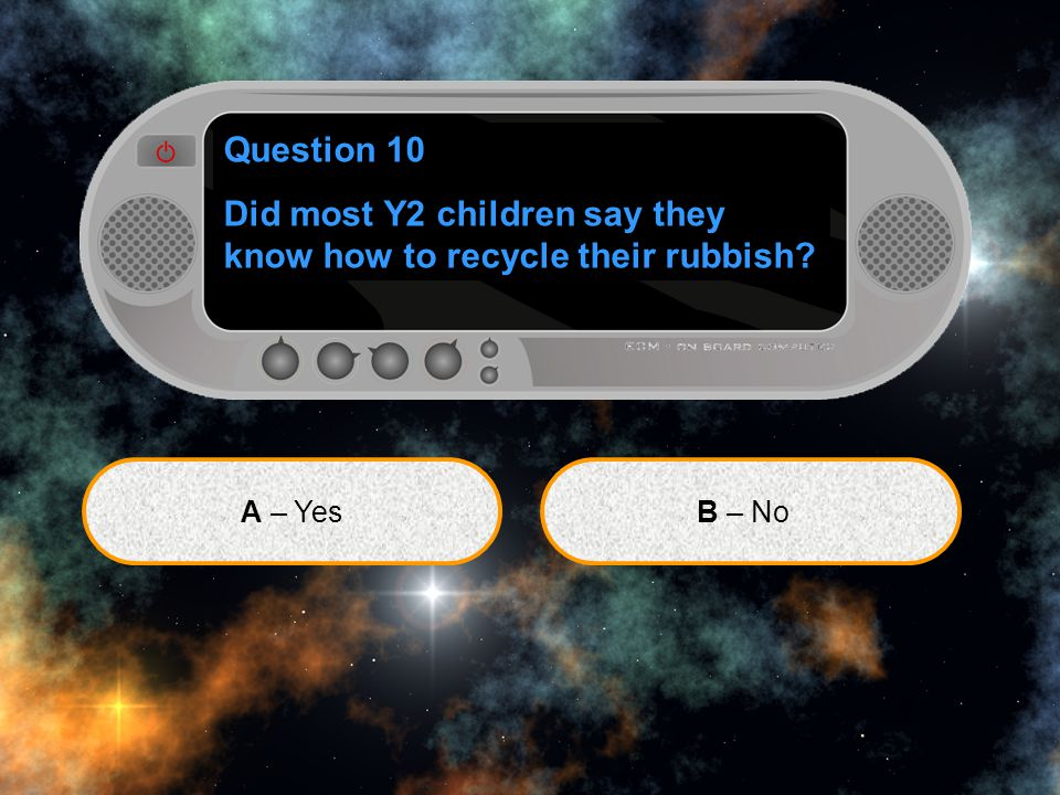 Question 10 Did most Y2 children say they know how to recycle their rubbish? A – YesB – No