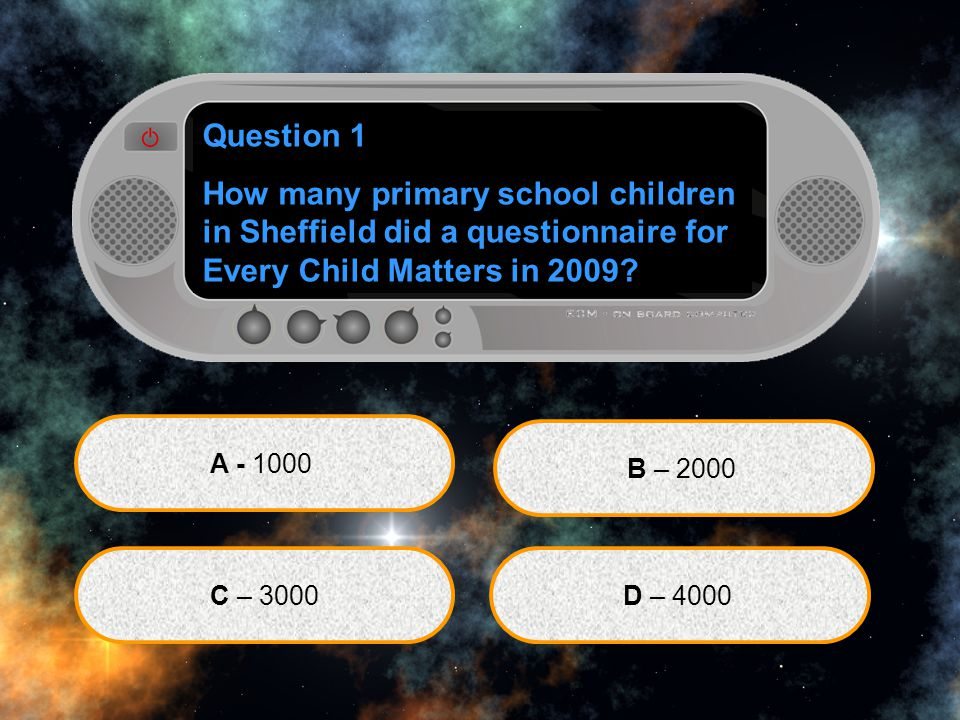 Question 1 How many primary school children in Sheffield did a questionnaire for Every Child Matters in 2009.