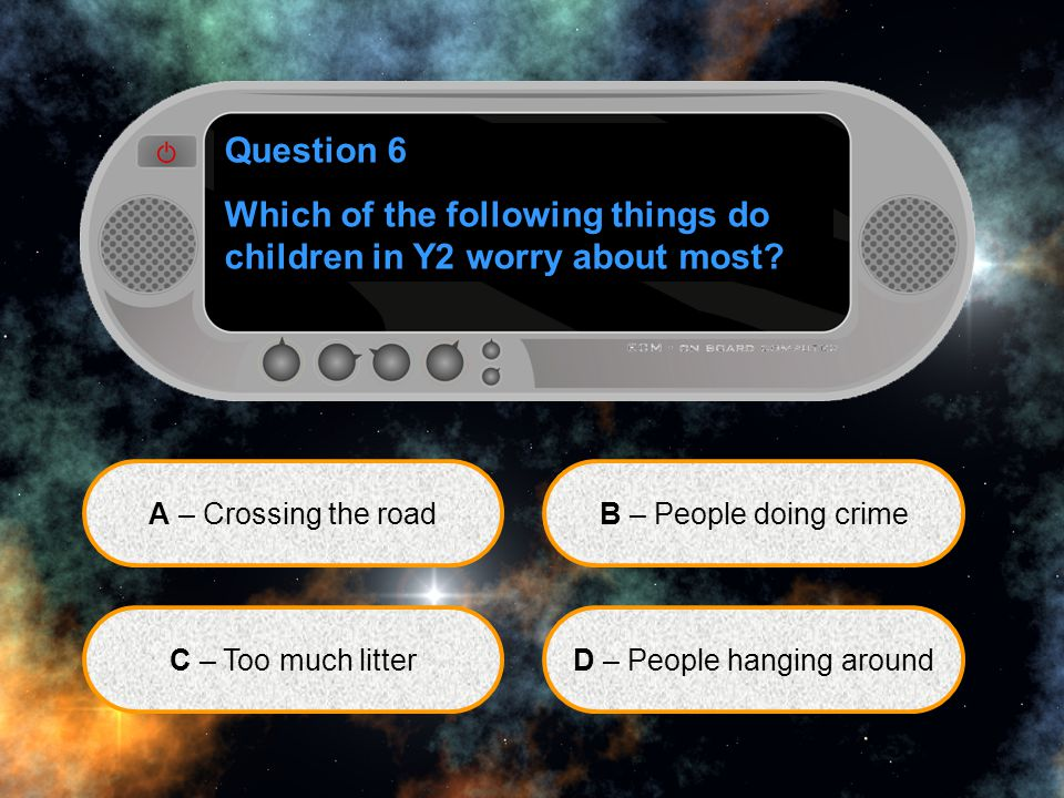 Question 6 Which of the following things do children in Y2 worry about most.
