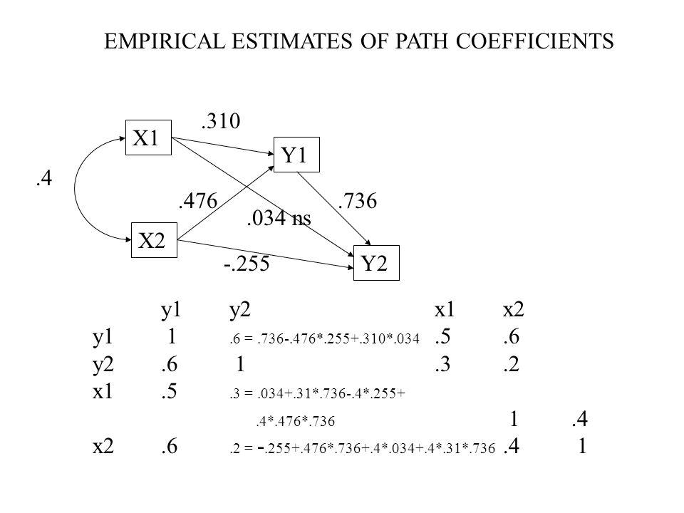 X1 X2 Y1 Y2.4.310.736.476 -.255.034 ns EMPIRICAL ESTIMATES OF PATH COEFFICIENTS y1y2x1x2 y1 1.6 =.736-.476*.255+.310*.034.5.6 y2.6 1.3.2 x1.5.3 =.034+
