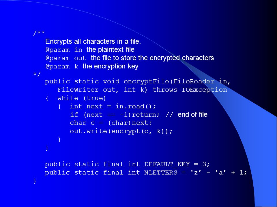 /** Encrypts all characters in a file. @param in the plaintext file @param out the file to store the encrypted characters @param k the encryption key