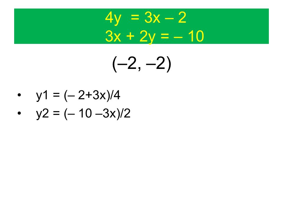 4y = 3x – 2 3x + 2y = – 10 (–2, –2) y1 = (– 2+3x)/4 y2 = (– 10 –3x)/2