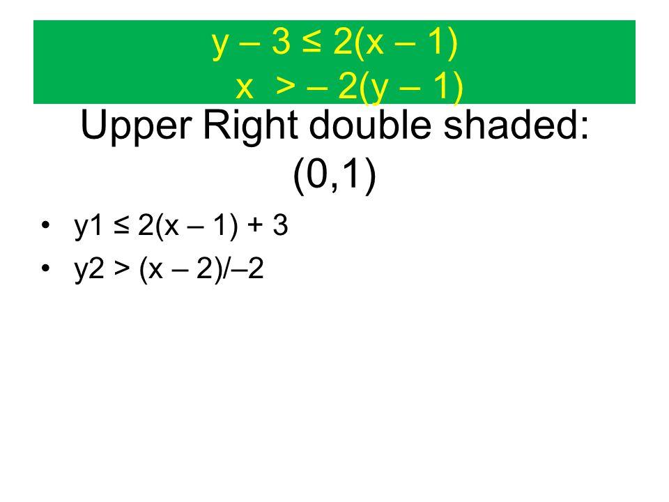 y – 3 ≤ 2(x – 1) x > – 2(y – 1) Upper Right double shaded: (0,1) y1 ≤ 2(x – 1) + 3 y2 > (x – 2)/–2