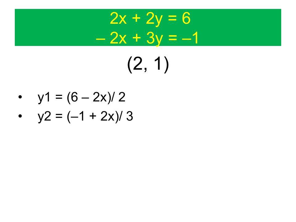 2x + 2y = 6 – 2x + 3y = –1 (2, 1) y1 = (6 – 2x)/ 2 y2 = (–1 + 2x)/ 3