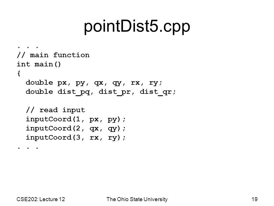 CSE202: Lecture 12The Ohio State University19 pointDist5.cpp...