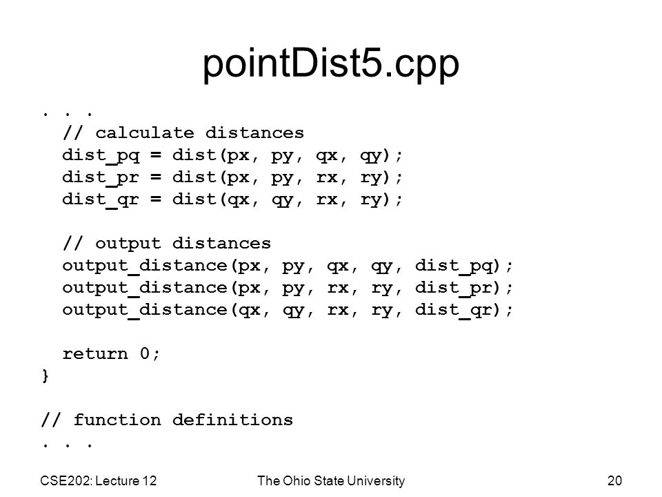 CSE202: Lecture 12The Ohio State University20 pointDist5.cpp...