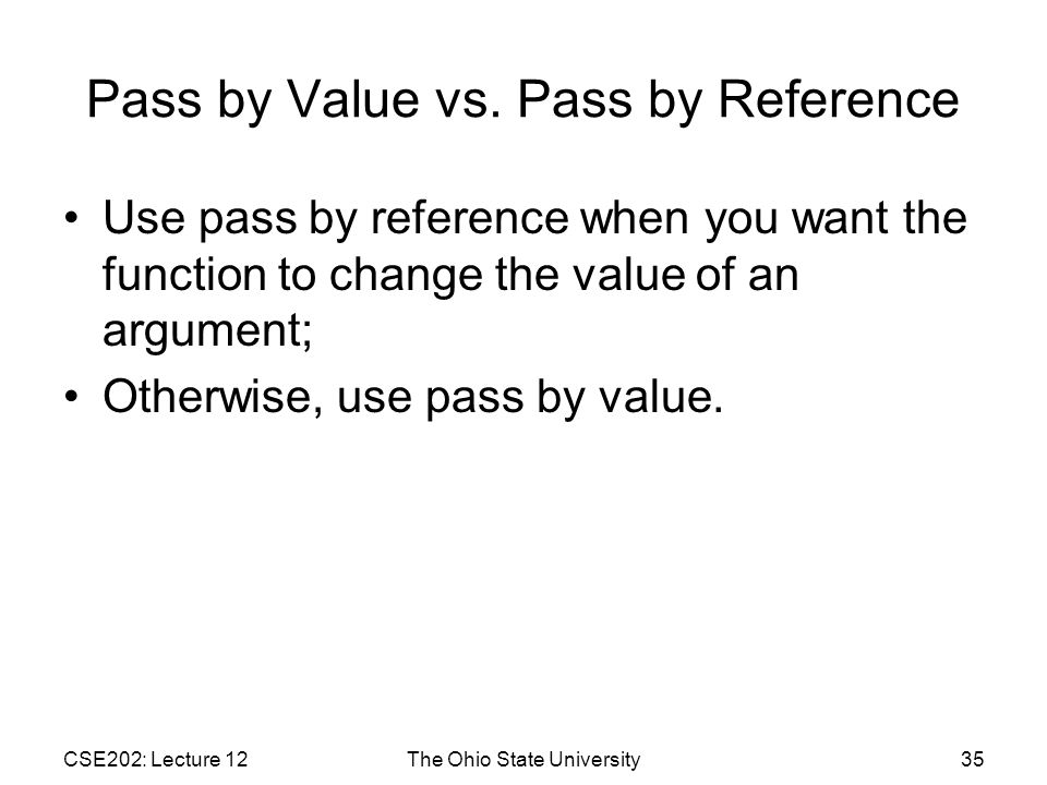 Pass by Value vs.