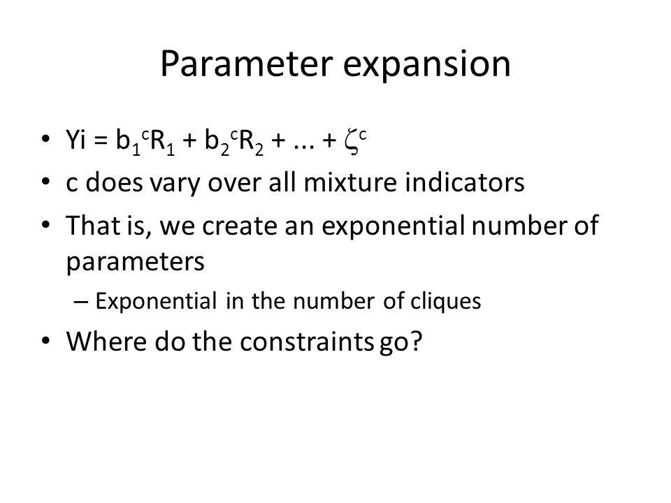 Parameter expansion Yi = b 1 c R 1 + b 2 c R 2 +...