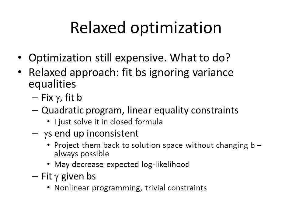 Relaxed optimization Optimization still expensive.