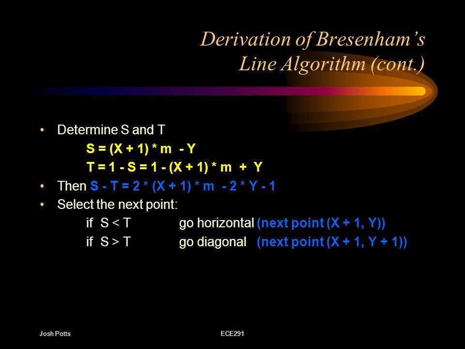 Josh PottsECE291 Derivation of Bresenham's Line Algorithm (cont.) Determine S and T S = (X + 1) * m - Y T = 1 - S = 1 - (X + 1) * m + Y Then S - T = 2 * (X + 1) * m - 2 * Y - 1 Select the next point: if S < Tgo horizontal (next point (X + 1, Y)) if S > Tgo diagonal (next point (X + 1, Y + 1))