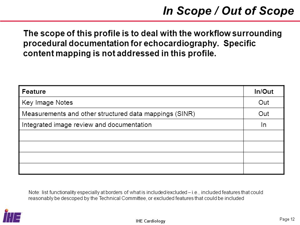 IHE Cardiology Page 12 In Scope / Out of Scope The scope of this profile is to deal with the workflow surrounding procedural documentation for echocar