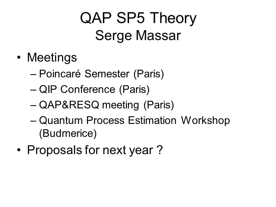 QAP SP5 Theory Serge Massar Meetings –Poincaré Semester (Paris) –QIP Conference (Paris) –QAP&RESQ meeting (Paris) –Quantum Process Estimation Workshop (Budmerice) Proposals for next year