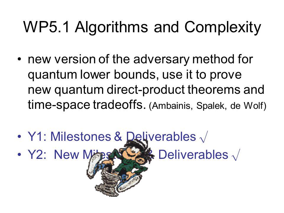 WP5.2 Algorithmic Methods Better understanding of the ability of quantum circuits to withstand noise (Buhrman, Cleve, Laurent, Linden, Schrijver, Unger) Y1: Milestones & Deliverables √ Y2: New Milestones & Deliverables √