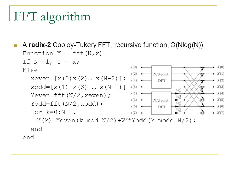 FFT algorithm A radix-2 Cooley-Tukery FFT, recursive function, O(Nlog(N)) Function Y = fft(N,x) If N==1, Y = x; Else xeven=[x(0)x(2)… x(N-2)]; xodd=[x(1) x(3) … x(N-1)]; Yeven=fft(N/2,xeven); Yodd=fft(N/2,xodd); For k=0:N-1, Y(k)=Yeven(k mod N/2)+W k *Yodd(k mode N/2); end
