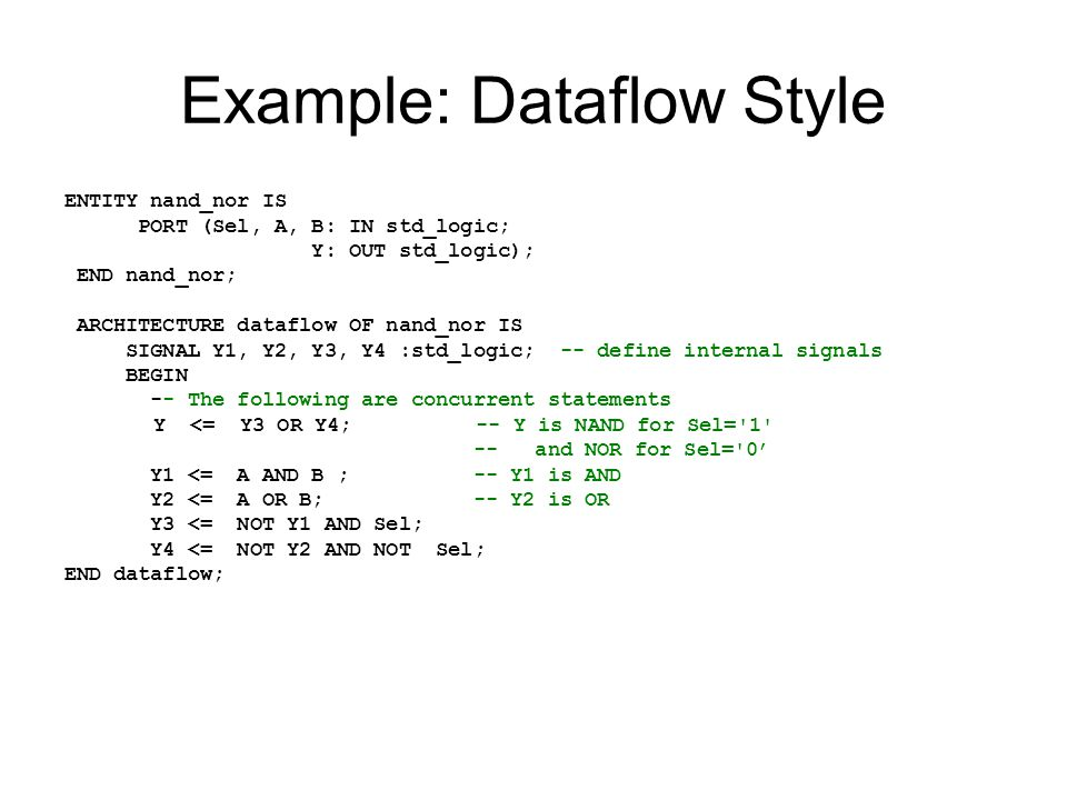 Example: Dataflow Style ENTITY nand_nor IS PORT (Sel, A, B: IN std_logic; Y: OUT std_logic); END nand_nor; ARCHITECTURE dataflow OF nand_nor IS SIGNAL Y1, Y2, Y3, Y4 :std_logic; -- define internal signals BEGIN -- The following are concurrent statements Y <= Y3 OR Y4; -- Y is NAND for Sel= 1 -- and NOR for Sel= 0' Y1 <= A AND B ; -- Y1 is AND Y2 <= A OR B; -- Y2 is OR Y3 <= NOT Y1 AND Sel; Y4 <= NOT Y2 AND NOT Sel; END dataflow;