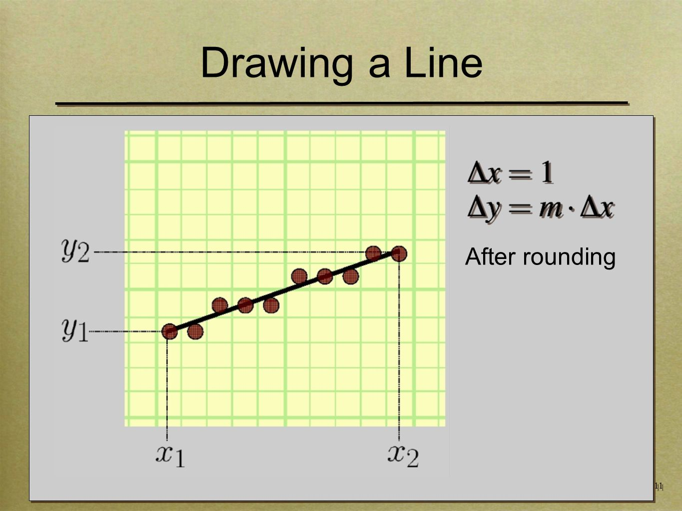 11 Drawing a Line After rounding