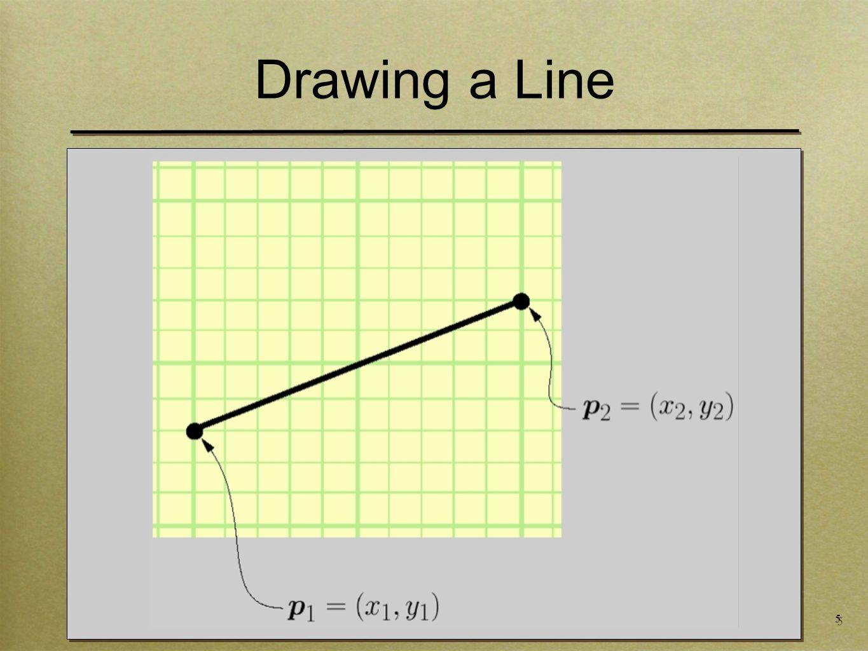 16 Drawing a Line void drawLine-Error3(int x1,x2, int y1,y2) int x = x1 int y = y1 float e = -0.5 while (x <= x2) setPixel(x,y,PIXEL_ON) x += 1 e += float(y2-y1)/(x2-x1) if (e >= 0.0) y+=1 e-=1.0