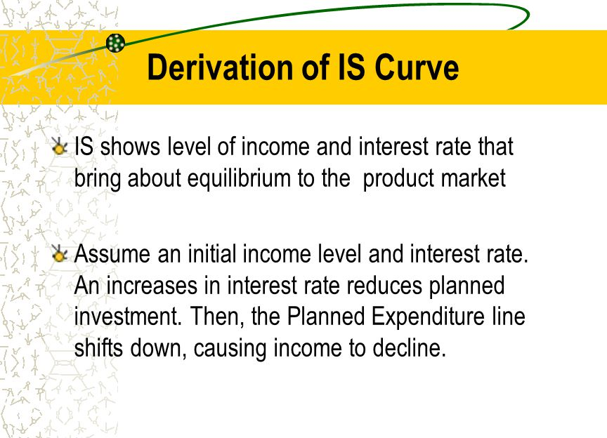 Derivation of IS Curve IS shows level of income and interest rate that bring about equilibrium to the product market Assume an initial income level and interest rate.