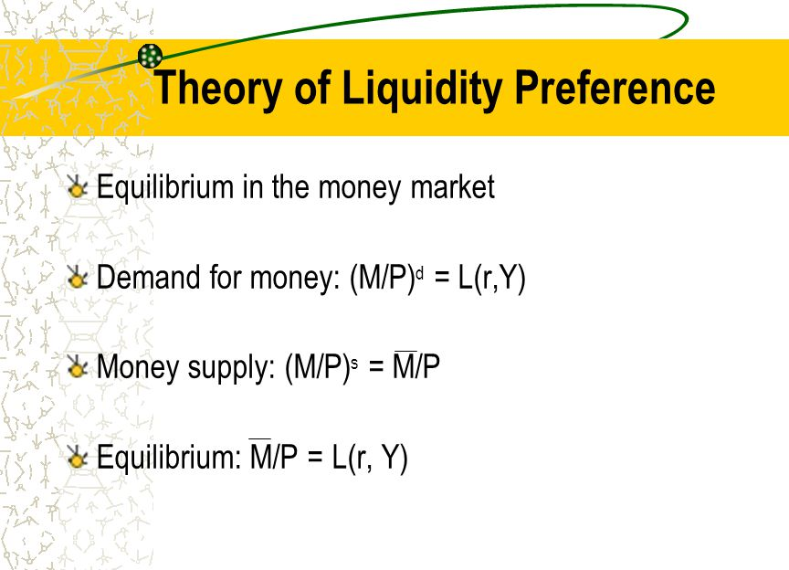 Theory of Liquidity Preference Equilibrium in the money market Demand for money: (M/P) d = L(r,Y) Money supply: (M/P) s = M/P Equilibrium: M/P = L(r,