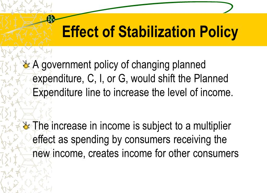 Effect of Stabilization Policy A government policy of changing planned expenditure, C, I, or G, would shift the Planned Expenditure line to increase t
