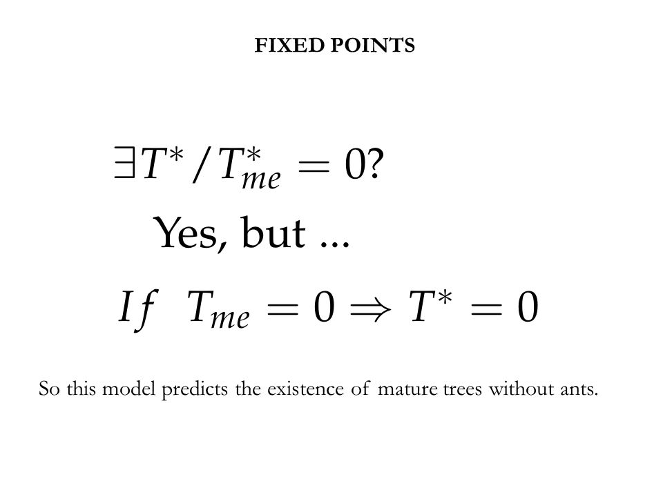 So this model predicts the existence of mature trees without ants. FIXED POINTS