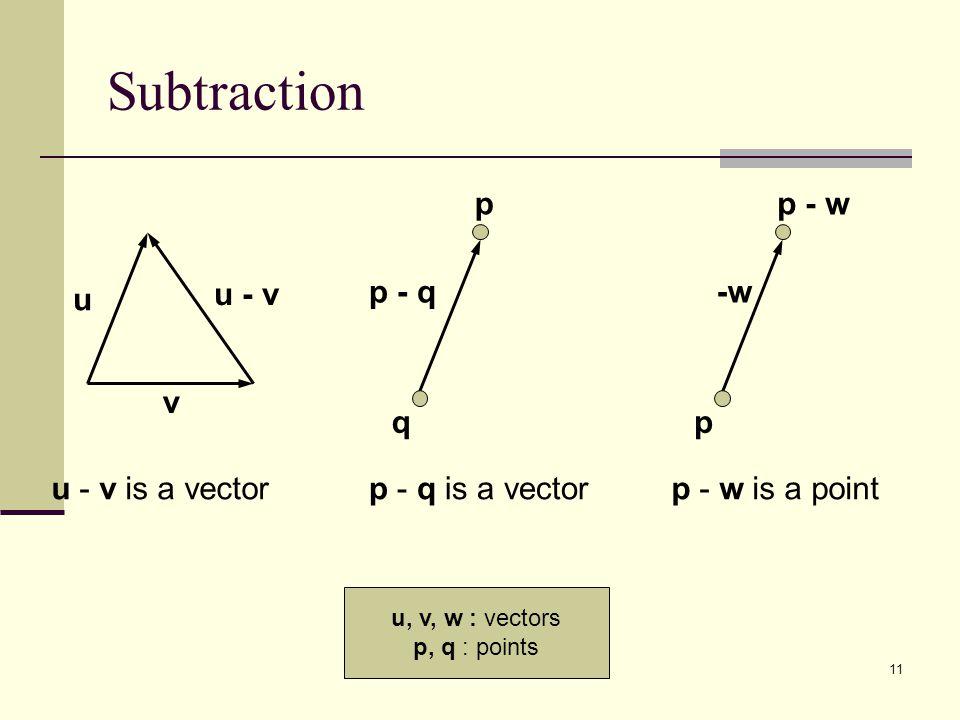 11 Subtraction v u - v u q p u - v is a vectorp - q is a vector p - q p p - w p - w is a point -w u, v, w : vectors p, q : points