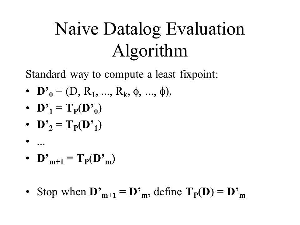 Naive Datalog Evaluation Algorithm Standard way to compute a least fixpoint: D' 0 = (D, R 1,..., R k, ,...,  ), D' 1 = T P (D' 0 ) D' 2 = T P (D' 1