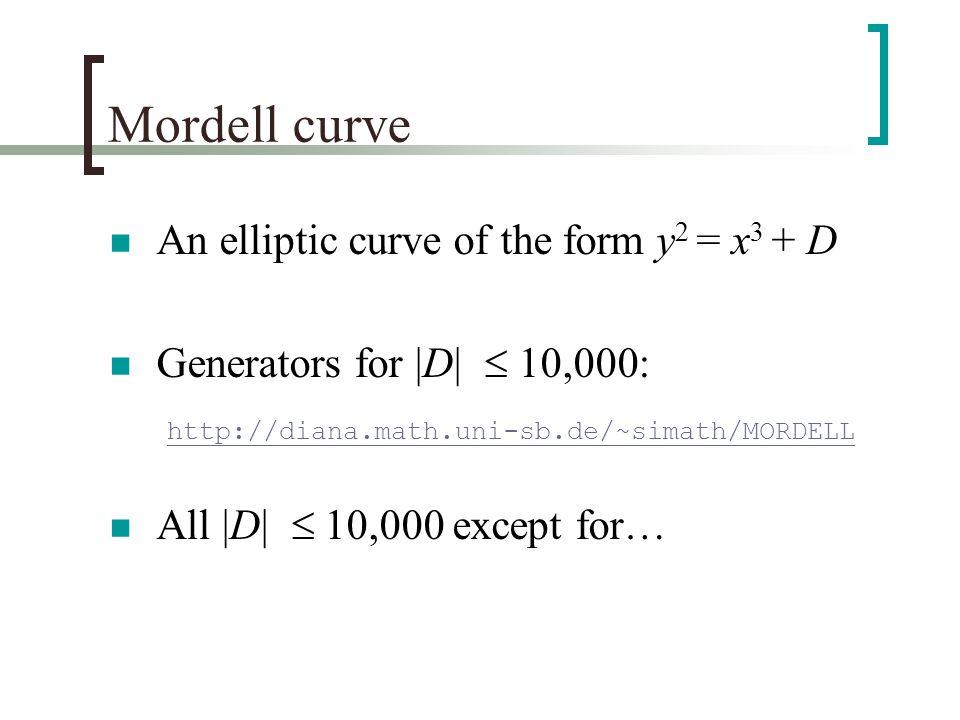 Mordell curve An elliptic curve of the form y 2 = x 3 + D Generators for |D|  10,000: http://diana.math.uni-sb.de/~simath/MORDELL All |D|  10,000 except for…