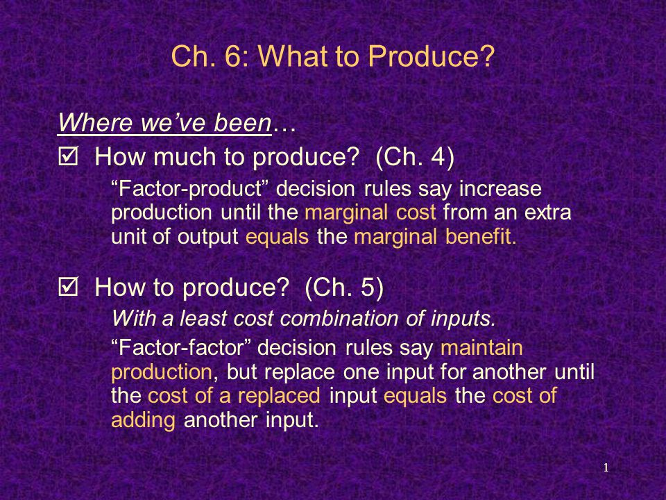 2 Ch.6: What to Produce.