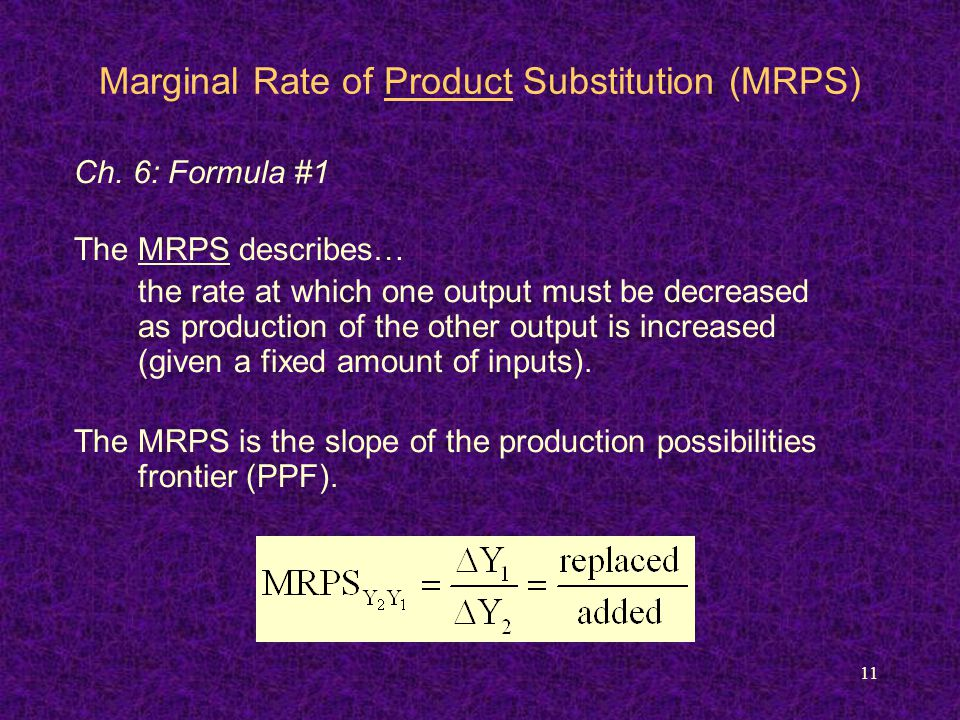 11 Marginal Rate of Product Substitution (MRPS) Ch.
