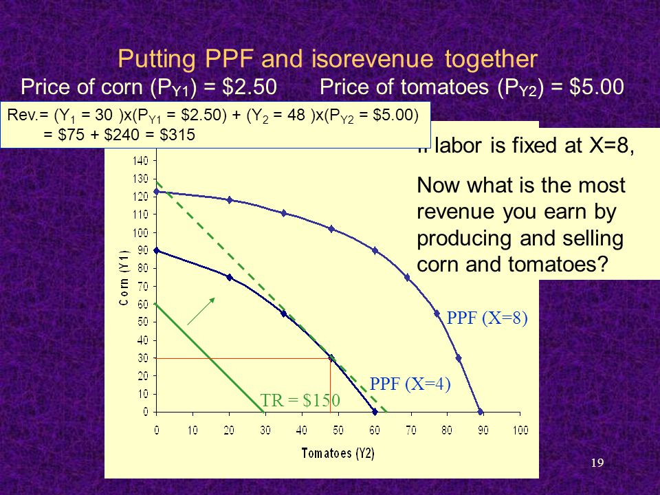 19 Putting PPF and isorevenue together PPF (X=4) PPF (X=8) TR = $150 If labor is fixed at X=8, Now what is the most revenue you earn by producing and selling corn and tomatoes.