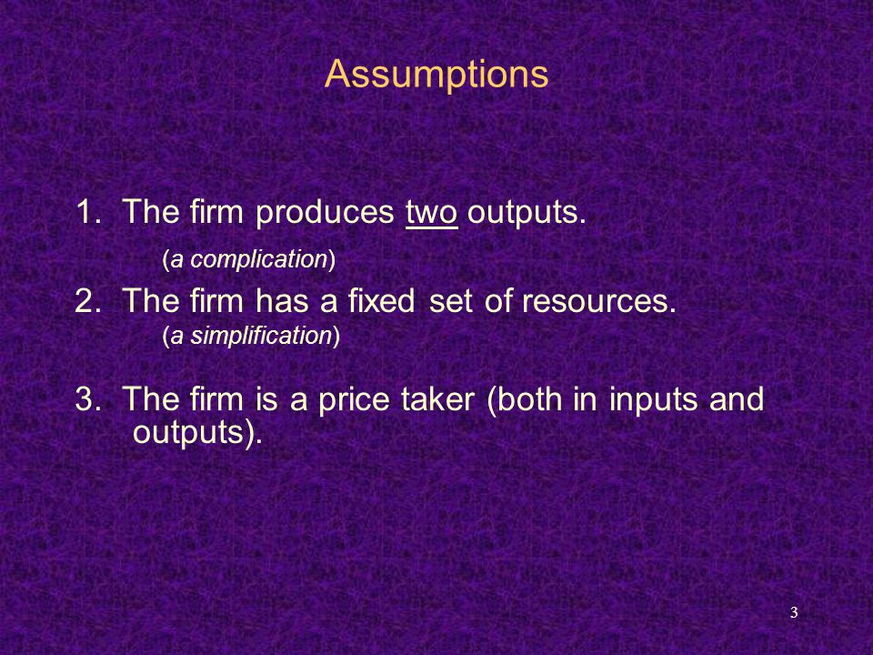 3 Assumptions 1. The firm produces two outputs. (a complication) 2.