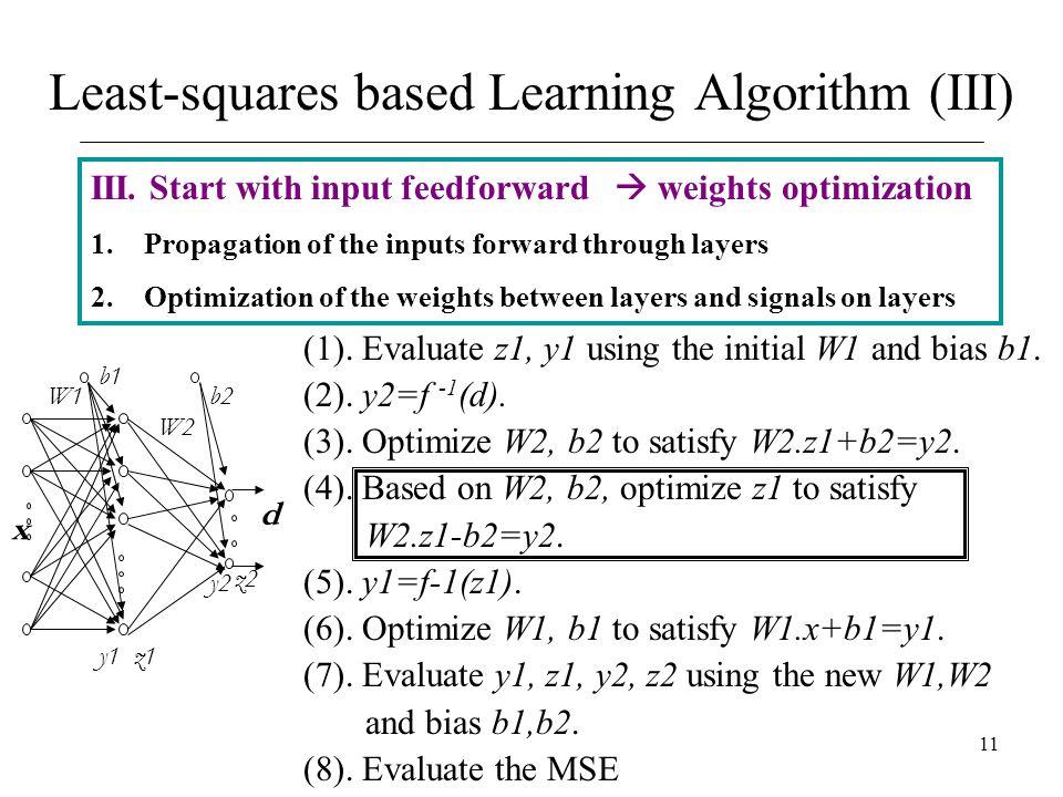 11 III. Start with input feedforward  weights optimization 1.Propagation of the inputs forward through layers 2.Optimization of the weights between l