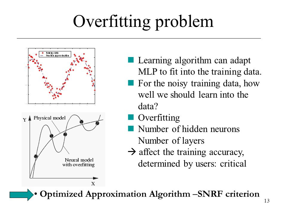13 Overfitting problem Learning algorithm can adapt MLP to fit into the training data. For the noisy training data, how well we should learn into the