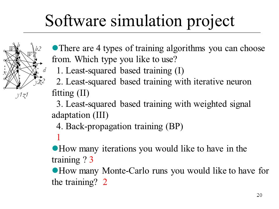 20 z2 y2 d W1 y1z1 b1b1 W2 x b2 There are 4 types of training algorithms you can choose from. Which type you like to use? 1. Least-squared based train