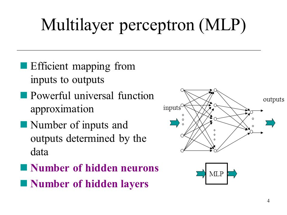 4 Efficient mapping from inputs to outputs Powerful universal function approximation Number of inputs and outputs determined by the data Number of hid