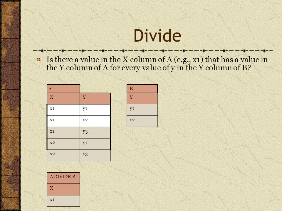 Divide Is there a value in the X column of A (e.g., x1) that has a value in the Y column of A for every value of y in the Y column of B.