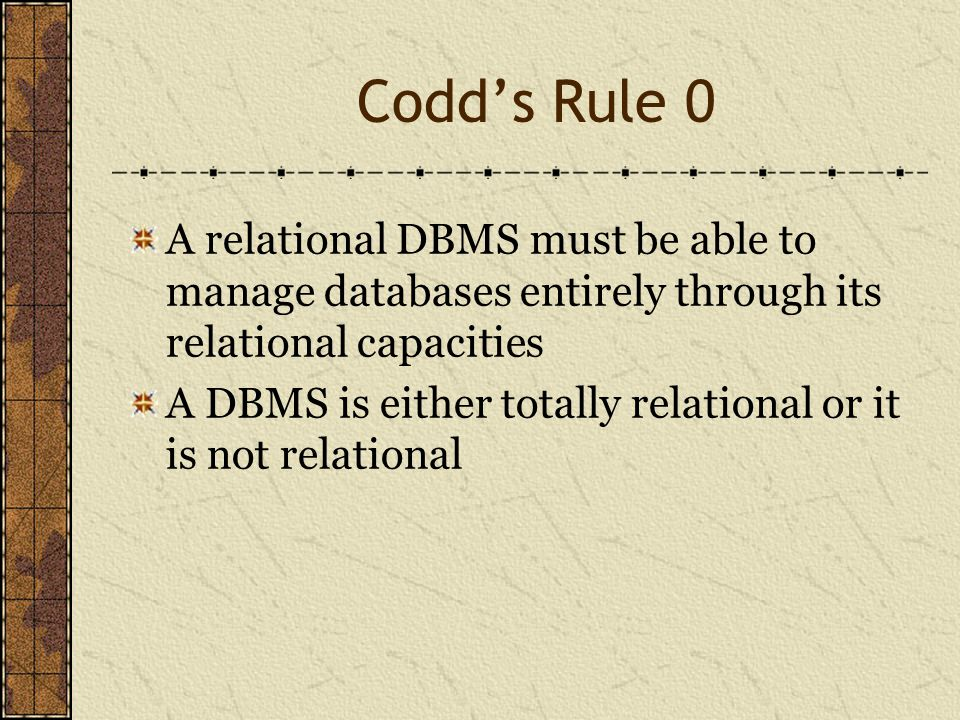 Codd's Rule 0 A relational DBMS must be able to manage databases entirely through its relational capacities A DBMS is either totally relational or it is not relational