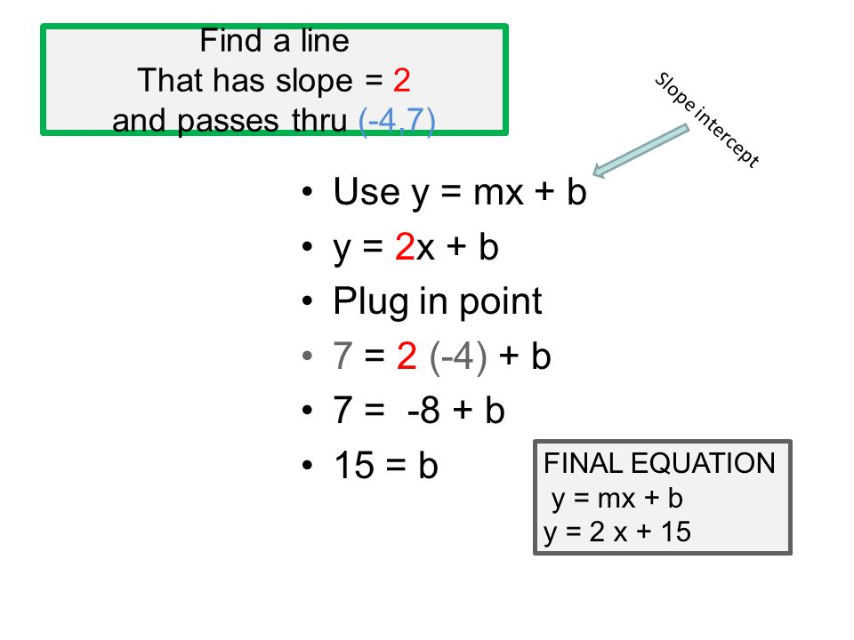 Find a line That has slope = 2 and passes thru (-4,7) Use y = mx + b y = 2x + b Plug in point 7 = 2 (-4) + b 7 = -8 + b 15 = b FINAL EQUATION y = mx +