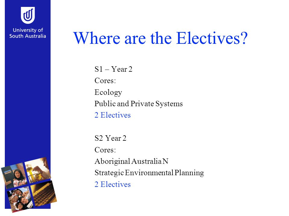 Where are the Electives? S1 – Year 2 Cores: Ecology Public and Private Systems 2 Electives S2 Year 2 Cores: Aboriginal Australia N Strategic Environme