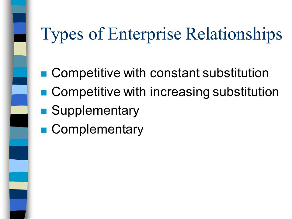 Types of Enterprise Relationships n Competitive with constant substitution n Competitive with increasing substitution n Supplementary n Complementary