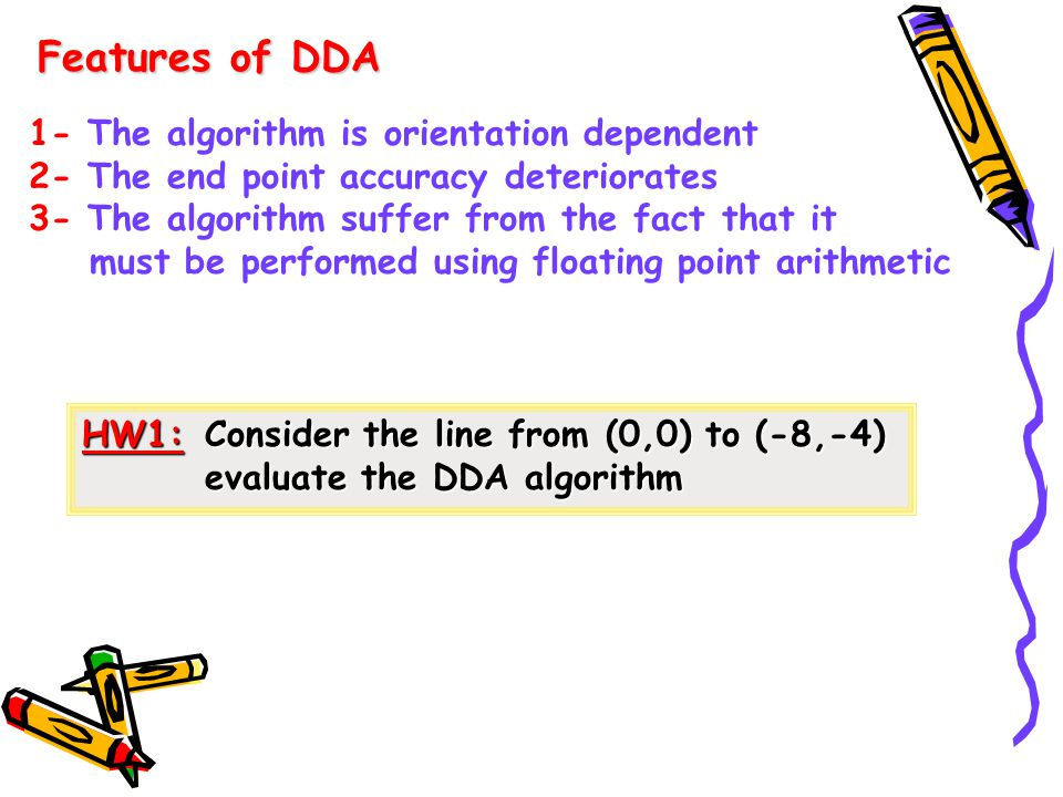 Features of DDA 1- The algorithm is orientation dependent 2- The end point accuracy deteriorates 3- The algorithm suffer from the fact that it must be