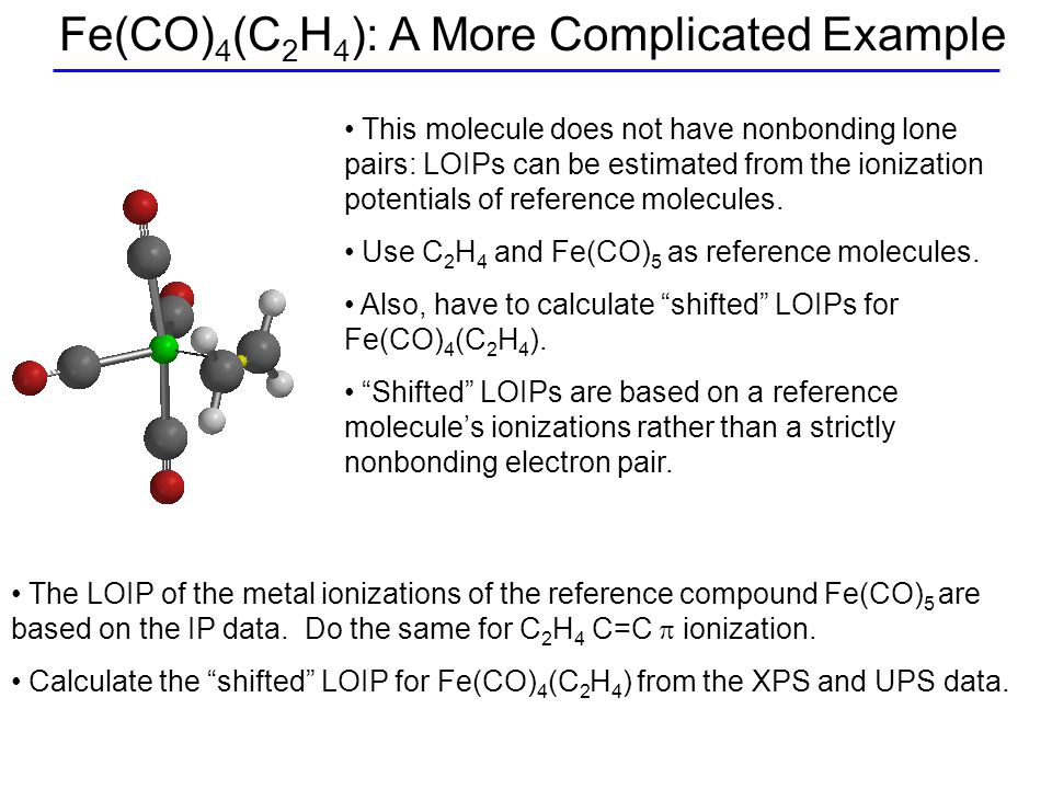 Fe(CO) 4 (C 2 H 4 ): A More Complicated Example This molecule does not have nonbonding lone pairs: LOIPs can be estimated from the ionization potentials of reference molecules.